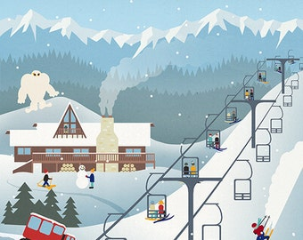 Whitefish, Montana - Retro Ski Resort (Art Prints available in multiple sizes)