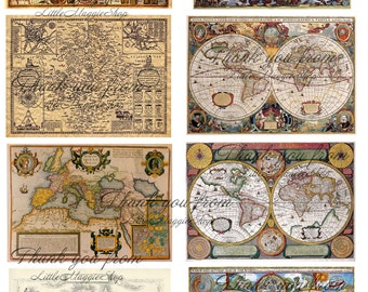 Vintage Antique World Maps for a Dollhouse printable DOWNLOAD
