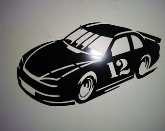 Metal Laser Cut Nascar  Race Car Wall hanging.  Customize the number and color