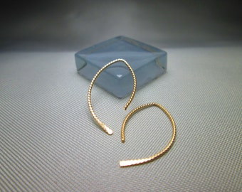 Gold/Rose Gold/Silver Ear Threaders, Choice of 2 Gauges and 5 Lengths in Smooth or Twisted, Thread Earrings, Wishbone Earrings, Open Hoops