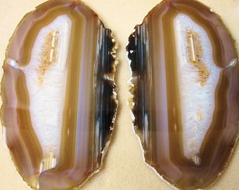 Pair Agate Slabs from Brazil, Polished Potential Butterfly-6 inches