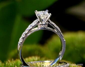 RING SET - Certified - Diamond Engagement wedding - Princess Cut 14k white gold - weddings - custom made  - Beautiful Petra rings - Bp035