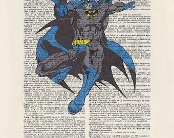 DC comics Batman on dictionary page print