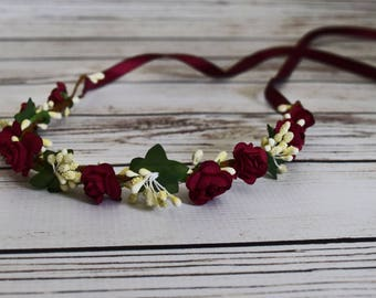 Handcrafted Burgundy and Ivory Flower Crown - Wine and Ivory Headband - Burgundy Wedding Hair Accessory - Bridal Flower Crown -Fall Headband
