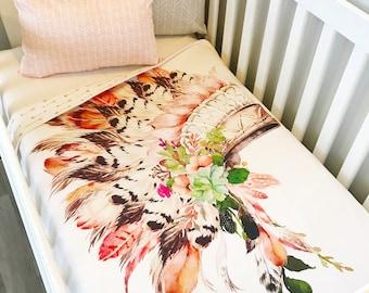 Peach Pink Tribal Headress Floral Cot Blanket Crib Quilt Baby Girl Nursery Bedding