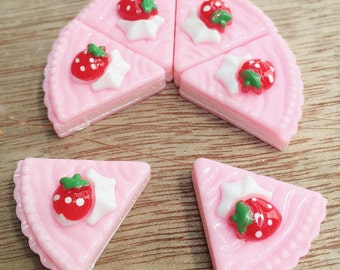 3pcs.21x22mm.Miniature Cabochon Cakes,Miniature Cookies,Miniature Cake Cabochon,Resin,Miniature Sweet,Miniature Strawberry Cake