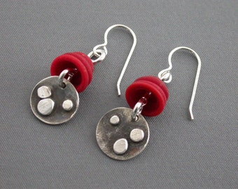 SMaddock Distressed Granulation Silver Earrings with Glass Bead Caps