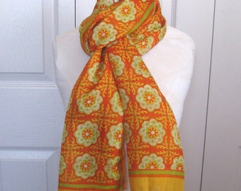 oblong scarf . Indian silk scarf . orange and green silk scarf . handwoven in India . marigold scarf