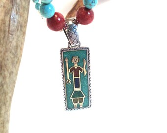 Sterling Silver Southwestern Necklace with Turquoise and Coral beads