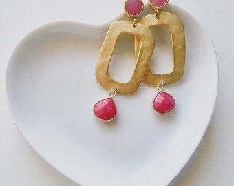 Golden Zamak Earrings | | With Embedded Stone | |