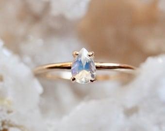 "14K Moonstone ""Chakra"" Ring, Solitaire Pear Ring, Faceted Pear Moonstone, Teardrop, Moonstone Engagement Ring, Rainbow Blue Moonstone"