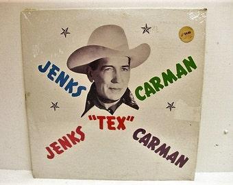 Jenks TEX Carman Country Western Vinyl LP in Shrink, Vintage Record Private Label, Black Vinyl C-9 Hillbilly Hula