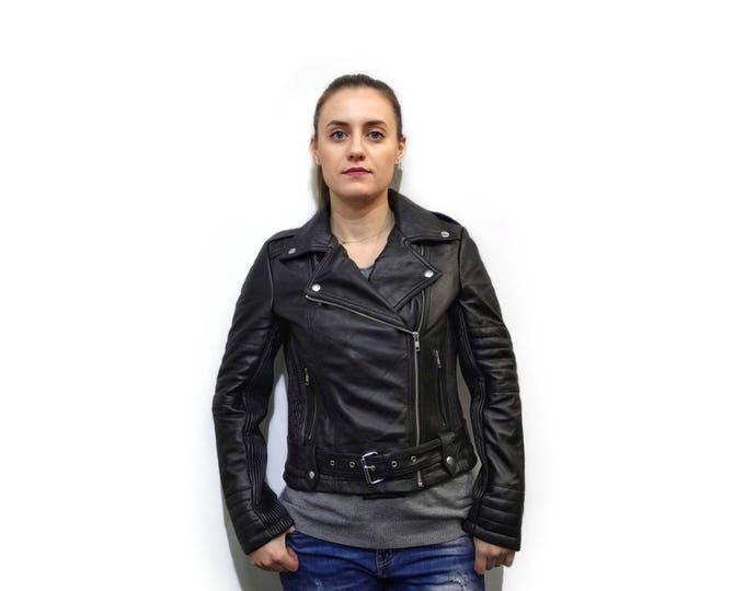 Black Leather Moto Jacket F877