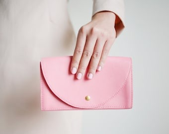 Clutch Wallet Pink, Leather Clutch, Secretary Wallet, Big Leather Wallet