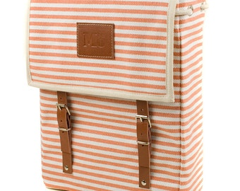Orange Marine Backpack, Mediterranean, Orange and White Horizontal Stripes, Leather and Canvas Bag, Women's Backpack