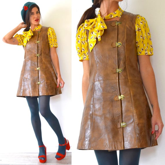 Vintage 60s 70s Chocolate Brown Pleather Mod Mini Dress Jumper with Gold Tone Buckle Hardware (size small, medium)