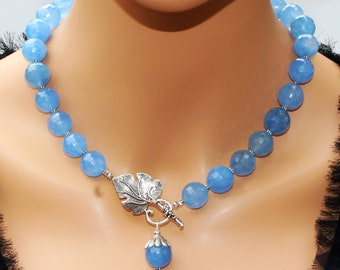 Genuine Blue Agate Luxury Necklace Handcrafted Artisan Lariat Statement Necklace Blue Agate Bold Stylish Elegant Classy Exquisite Jewelry