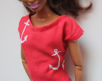 Red Anchor Shirt for 11.5 inch doll (27)