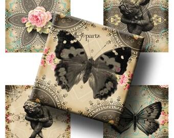 VINTAGE IMAGE Mandalas 1x1 Square, Affirmation,Printable Digital Images, Cards, Gift Tags, Scrabble Tiles, Yoga, Meditation, shabby chic