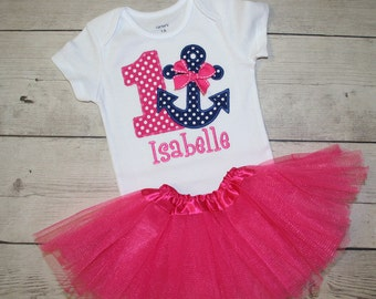 Pink and Navy Girls Anchor Nautical Birthday  Shirt and Tutu- Free Personalization-- All birthday numbers