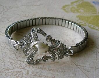 Assemblage Bracelet, Expandable Watch Band Bracelet, Rhinestone Dress Clip Bracelet, OOAK Bracelet (B058)
