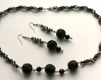 Black Rose Necklace and Earrings