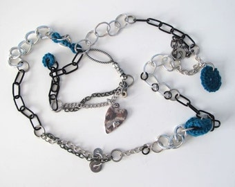 "Fiberpunk™ Necklace - Dark Teal - Heart - Extra Long 24"" / Fiber Jewelry / Crochet Jewelry / Tatted Jewelry"