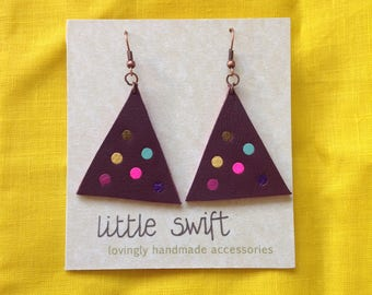 Triangle Earrings - Leather Earrings - Plum Earrings - Purple Earrings - Polka Dots  - Statement Earrings - Geometric - Gift for Her - OOAK