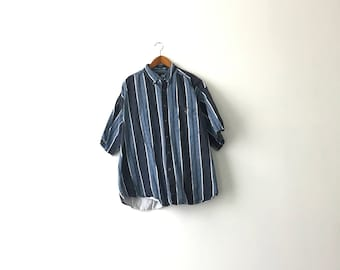 Thick 90s Striped Canvas Shirt - XL