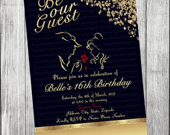 Beauty And The Beast Invitations Etsy - Wedding invitation templates: beauty and the beast wedding invitation template free