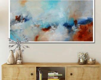Abstract Painting, long painting, Aqua blue Painting, Large art print, aqua Art Print, ocean blue, wall art print, canvas print, white art