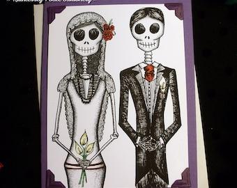 Bride + Groom in 'Violeta' / Calavera Wedding Handmade Greeting Card