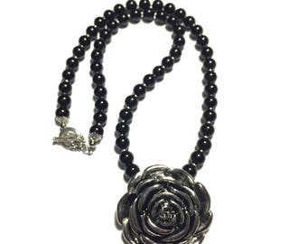 black stone with oxidized silver rose pendant necklace beaded necklace  woman necklace