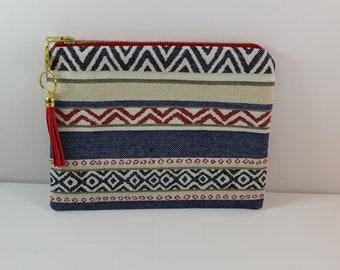 Cotton Clutch in Striped Southwest Navajo Print, zipper bag, essentials bag, cosmetic bag, travel bag, casual clutch