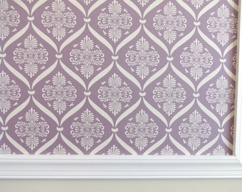 Framed Lavender Damask Pinboard Jewelry Board Cork Board