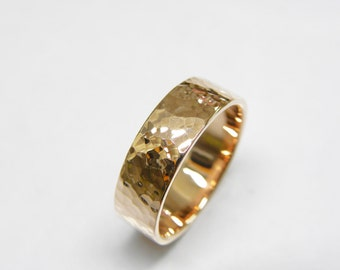 Wedding band rose gold-Gold mens wedding band - wedding ring. 6mm wide. Hammered. For men or women.Yellow,Rose or white gold.Flat .