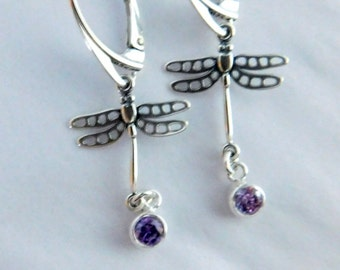 Sterling silver dragonfly earrings, lever back earrings, ball post earrings, birthstone earrings, INSECT