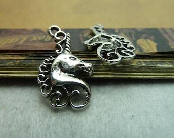 BULK 30 Unicorn Charms Antique Silver Tone