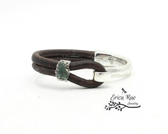 Raw emerald gemstone leather cuff bracelet, hook cuff bracelet, raw jewelry,  boho jewelry