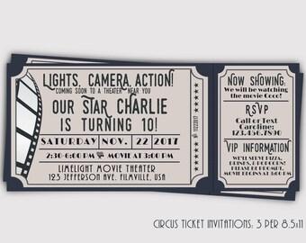 Movie Theater Ticket Birthday Invitation