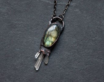 Green Labradorite Gemstone Necklace with Three Mini Quartz Crystal Points | Natural Gemstone Labradorite Pendant