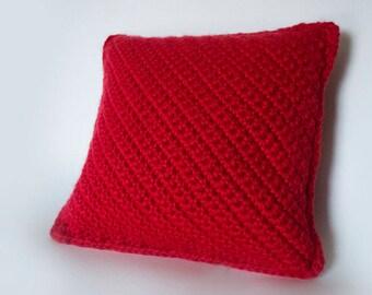Soft Crochet Pillow/Cincinnati Red