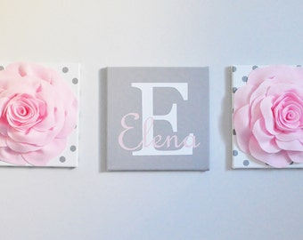 Baby Name Wall Decor Canvas Nursery Art Decor Personalized baby sign, baby name sign, baby shower gift, nursery name, Pink and Gray Nursery