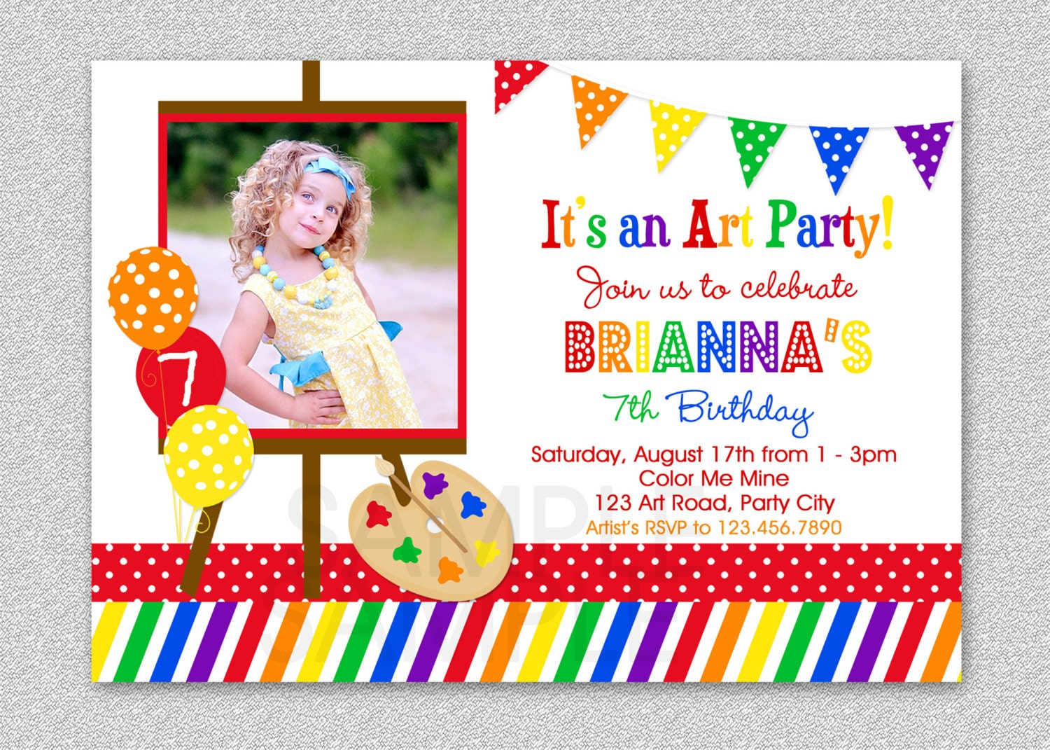 Art Birthday Party Invitations Paint and Create Art Birthday