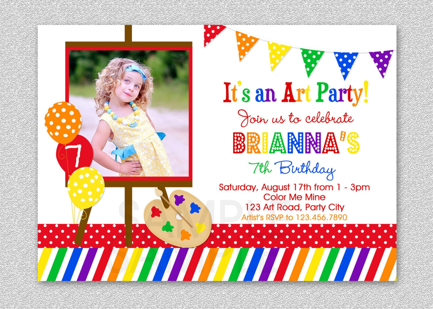Art birthday party invitations paint and create art birthday zoom stopboris Images