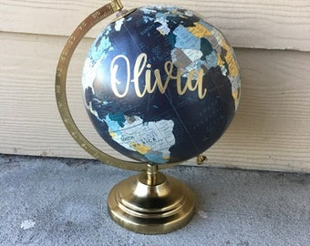 Custom Globe | Calligraphy Globe | Baby Name Globe | Hand Painted Globe | Hand Lettered | Travel | Nursery Decor | Home Decor