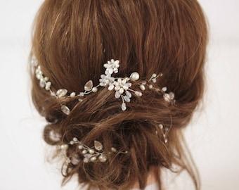 Bridal hair vine, Long hair piece, Flower headpiece, Bridal hair accessories, Pearl hair vine, Crystal Pearl headpiece Bridal hair piece