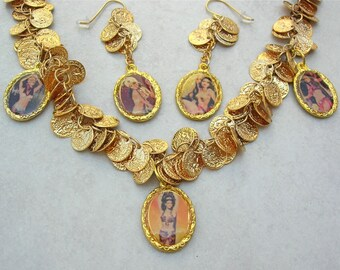 UNUSUAL Belly Dancer Charms & Gold Coin Necklace and Earrings, Optional Bracelet, Statement Necklace Set by SandraDesigns