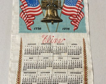 Vintage 1976 Bicentennial Towel 200 Years of Freedom Wall Hanging Liberty Bell American Flags Embroidered Kline Retro Kitchen July 4th