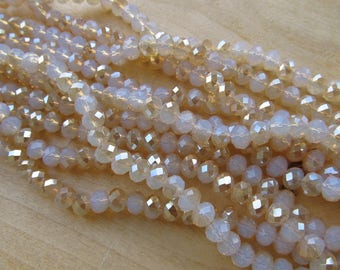 Set of 20 glass abacus beads faceted imitation jade 8 mm x 6 mm color: opalescent white.